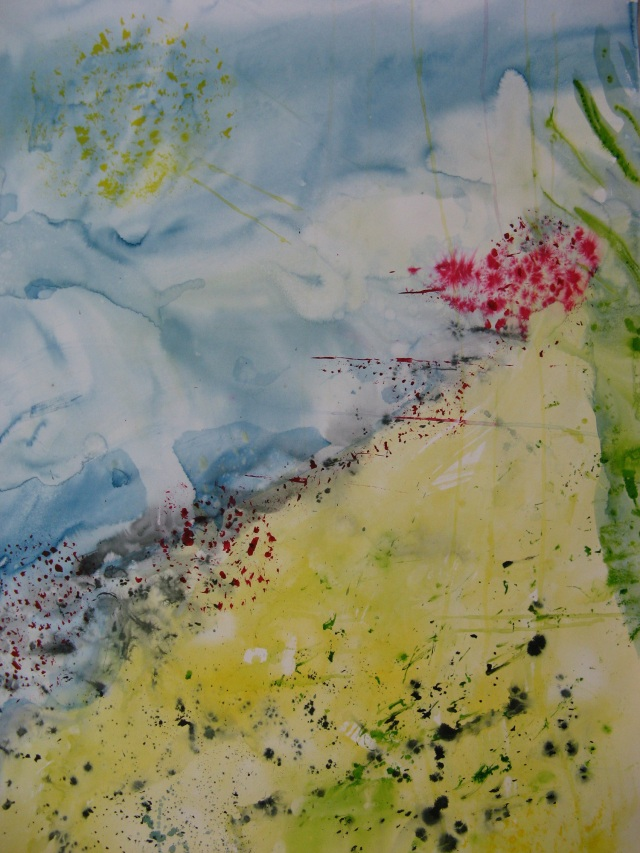 © Wilhelm Roseneder. Rot, blau, gelbe Invasion/Red, blue, yellow invasion, 2005. Aquarell, Chinatusche auf Papier/Watercolour, Chinese ink on paper, 1.50x1.10 cm