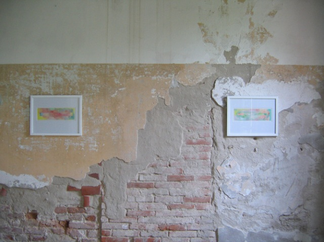 © Wilhelm Roseneder. Langes Rechteck/Long rectangle, 34,7x10,7 cm. Aquarell auf Papier/Watercolour on paper. Artfarm Pilastro. Pilastro di Bonavigo, Verona, Italy, 2005