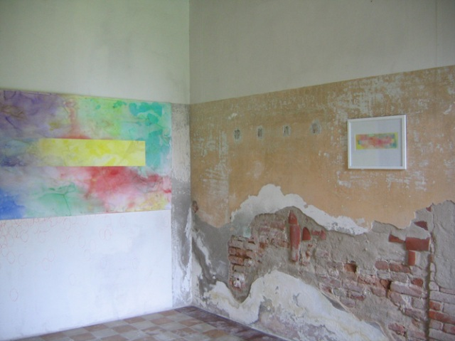 © Wilhelm Roseneder. Pilastro. 400x110 cm. Langes Rechteck/Long rectangle, 34,7x10,7 cm. Aquarell auf Papier/Watercolour on paper. Artfarm Pilastro. Pilastro di Bonavigo, Verona, Italy, 2005