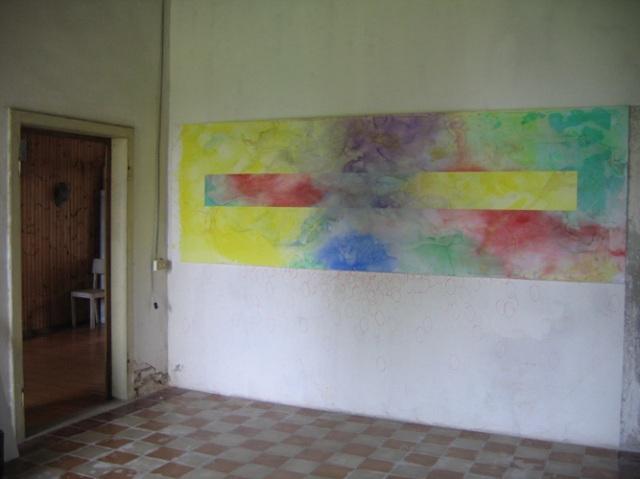 © Wilhelm Roseneder. Pilastro. Aquarell auf Papier/Watercolour on paper. 400x110 cm. Artfarm Pilastro. Pilastro di Bonavigo, Verona, Italy, 2005