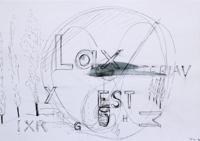 © Wilhelm Roseneder. Nachmittagswahnsinn, 2012. Zyklus Notizen:Notes. Gelpen auf Papier,29,6x41,9 cm