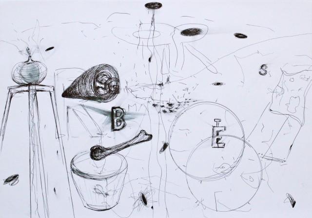 © Wilhelm Roseneder, Selbst, 2012. Zyklus Notizen:Notes. Gelpen auf Papier, 29,6x41,9 cm