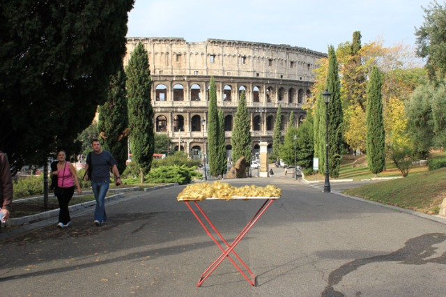 © Renate Egger and Wilhelm Roseneder. Goldene Erweiterung/Golden expansion. Street art project - temporary installation in public space. Artist in Residence. Colosseum. Rome, Italy, 2011