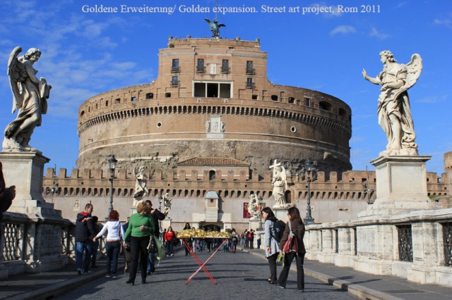 © Renate Egger and Wilhelm Roseneder. Goldene Erweiterung/Golden expansion. Street art project - temporary installation in public space. Artist in Residence. Castel S`Angelo. Rome, Italy, 2011