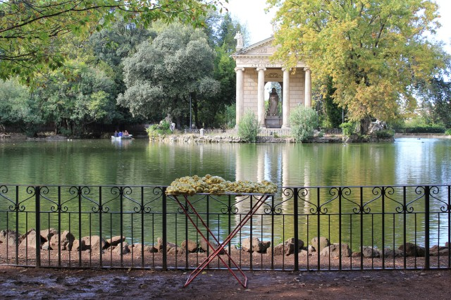 © Renate Egger and Wilhelm Roseneder. Goldene Erweiterung/Golden expansion. Street art project - temporary installation in public space. Artist in Residence. Villa Borghese. Rome, Italy, 2011