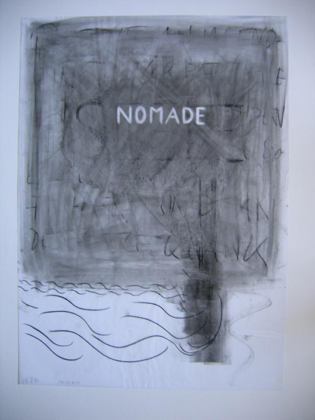 © Wilhelm Roseneder. Nomade. 1990. Glasochrom auf Paraffinpapier/Glasochrom on paraffin-paper, 63x45,5 cm