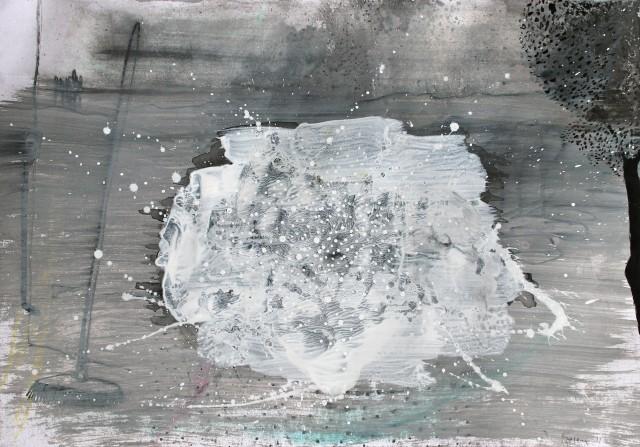 © Wilhelm Roseneder. Studie zu weißer Invasion/Study to white invasion, 2011. Aquarell, Bleistift, Tusche, chinesische Reibtusche/Watercolour, pen, ink, Chinese ink, 34x24 cm