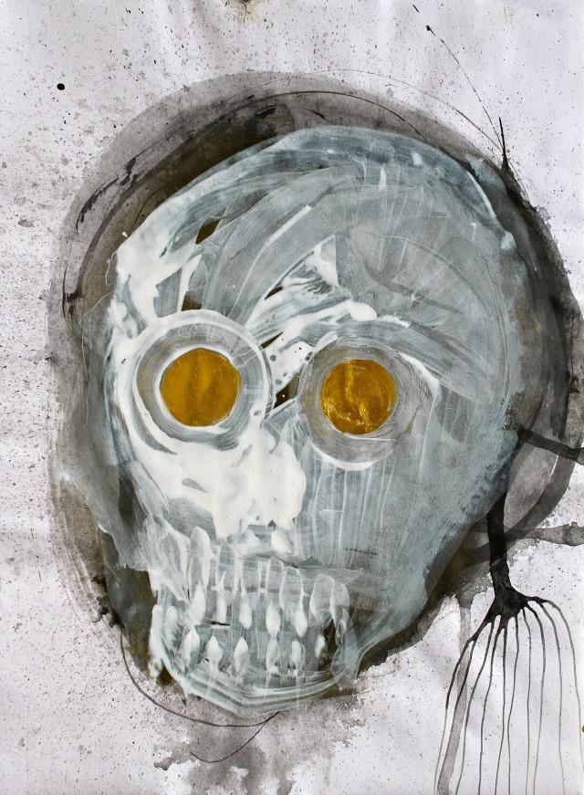 © Wilhelm Roseneder. Totenkopf/Skull, 2011. Acryl, Chinesische Tusche/Acrylic, Chines ink, 24x32,5 cm