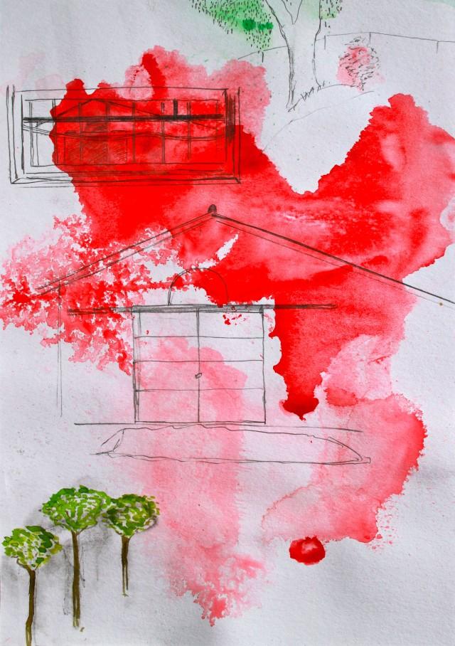 © Wilhelm Roseneder. Studie zu römischer Landschaft/Study to roman landscape, 2011. Aquarell, Bleistift, Tusche, chinesische Reibtusche/Watercolour, pen, ink, Chinese ink, 34x24 cm