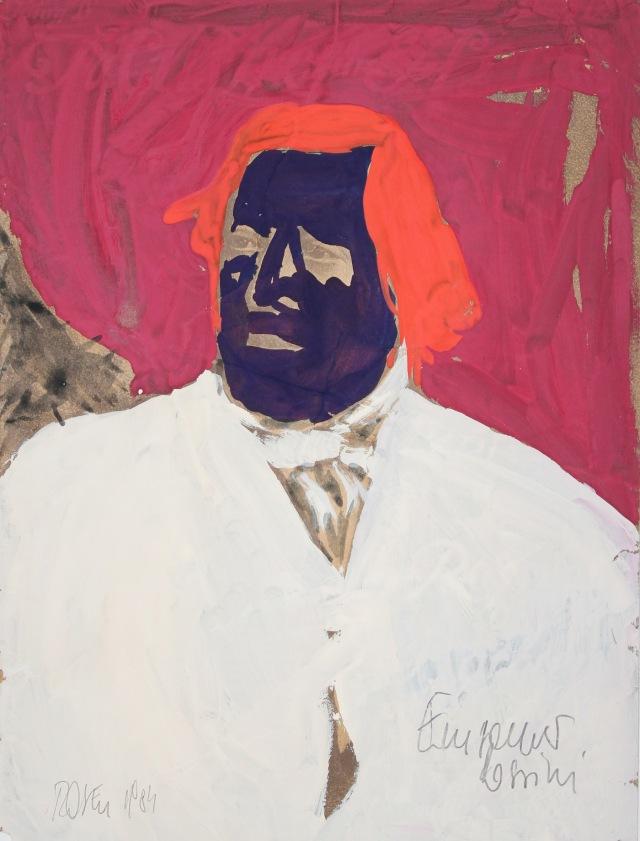 Einsamer Rossini, 31x23cm, 1984 Gouache auf Druck, 2260
