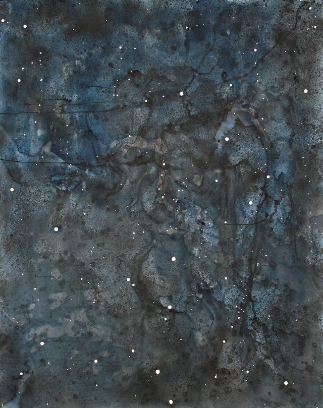 © Wilhelm Roseneder. Sternenbild /Constellation Nr.5102009, 2009. Aquarell, Tusche, chinesische Reibtusche/Watercolour, ink, Chinese ink, 2.00x1,50 cm