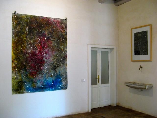 © Wilhelm Roseneder. Sternenbild II/Constellation II, 2010. Aquarell, Tusche, chinesische Reibtusche/Watercolour, ink, Chinese ink, 2.00x1,50 m.  Artfarm Pilastro. Pilastro di Bonavigo, Verona, Italy 2011