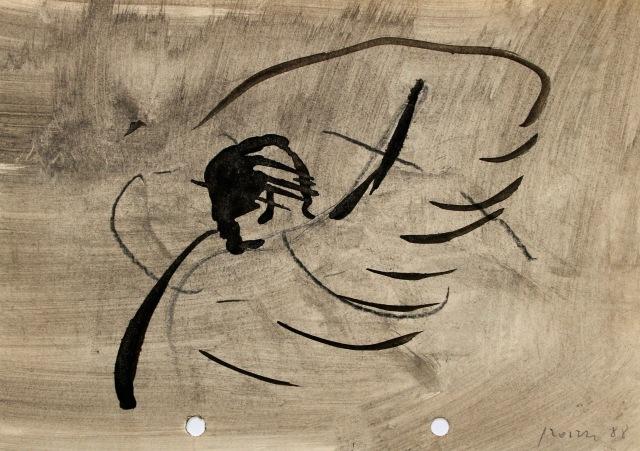 © Wilhelm Roseneder. Dem Engel einen Schlag versetzen, 1988. Tusche, Ölkreide auf Papier/Ink, oil crayon on paper, 14,6x20,9cm