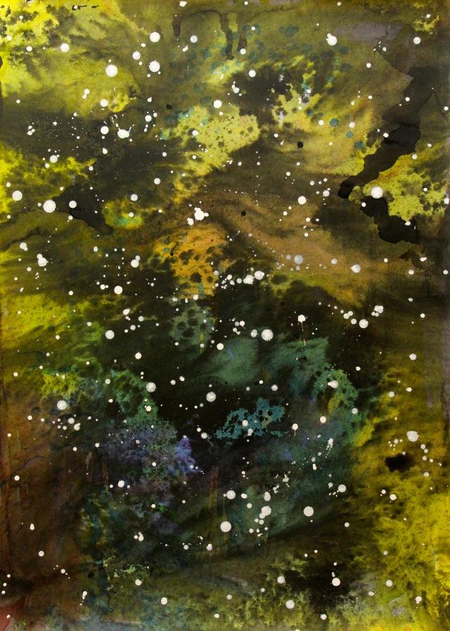 © Wilhelm Roseneder. Bildein. Sternenlandschaft Nr. 6080610, 2010. Landscapes. Landesgalerie Burgenland. Eisenstadt, Austria.  Aquarell, Tusche, chinesische Reibtusche/Watercolour, ink, Chinese ink, 69,8x50 cm