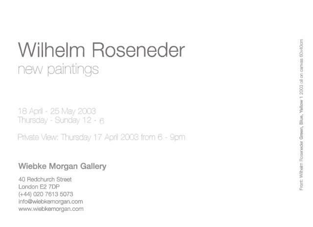 Wilhelm Roseneder new paintings Einl. 2