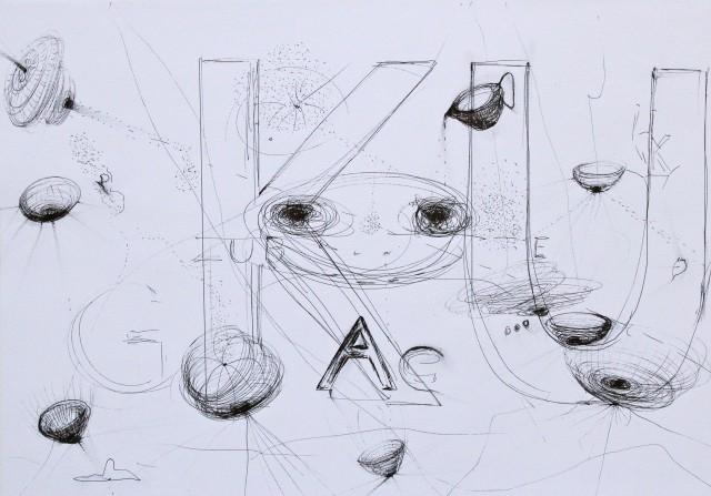 © Wilhelm Roseneder. Series. Notizen/Notes, 2012. Zeichnung/Drawing. Bleistift, Allstift, Kugelschreiber, Filzstift/Pencil, all pen, ball pen, felt pen, 42x30 cm