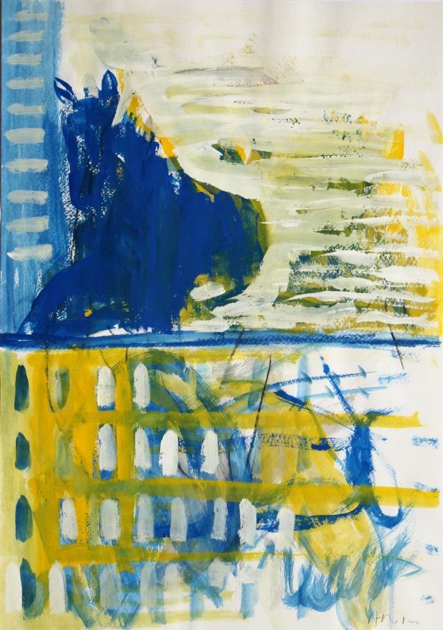 © Wilhelm Roseneder. Blaues Pferd/Blue horse, 1987. Gouache, Ölpastell auf Papier/Gouache, oil pastel on paper, 42x29,5 cm