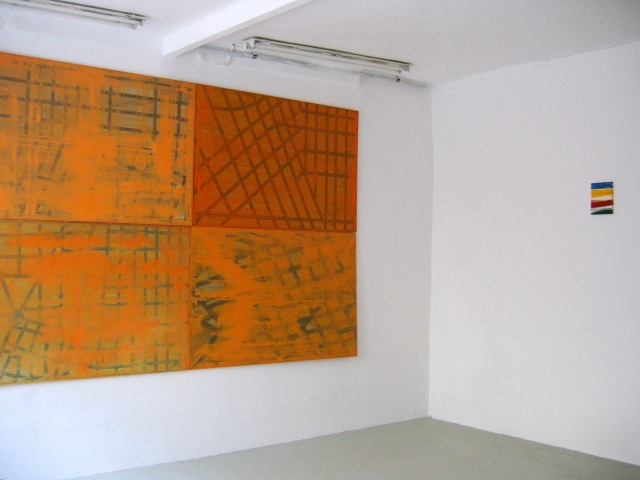 © Wilhelm Roseneder. Guides. Madrid, Barcelona, Beverly Hills, San Francisco II (vlnr), 1998-2003. Öl auf Aluminium/Oil on aluminium, je 104x155cm. Item 1-17, 2006. Lack auf Leinwand/Varnish on canvas, 24x18 cm