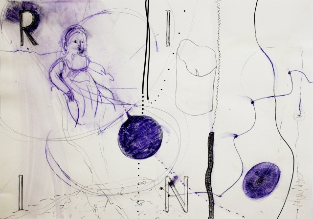 © Wilhelm Roseneder. Series. Notizen/Notes, 2013. Allstift, Kugelschreiber, Filzstift/All pen, ball pen, felt pen, 42x30 cm